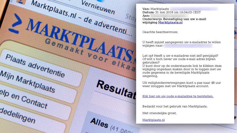 Bericht 'Marktplaats' over wijziging e-mailadres is phishing