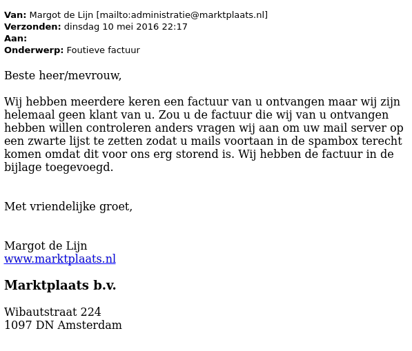 marktplaats factuur Valse e mail 'Marktplaats' bevat malware   Opgelicht?!   AVROTROS