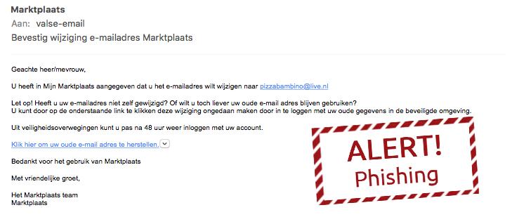 Valse e-mails uit naam Marktplaats in omloop