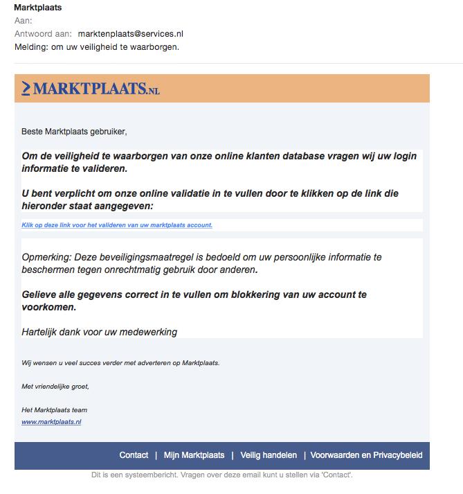 Trap niet in valse 'Marktplaats' e-mail