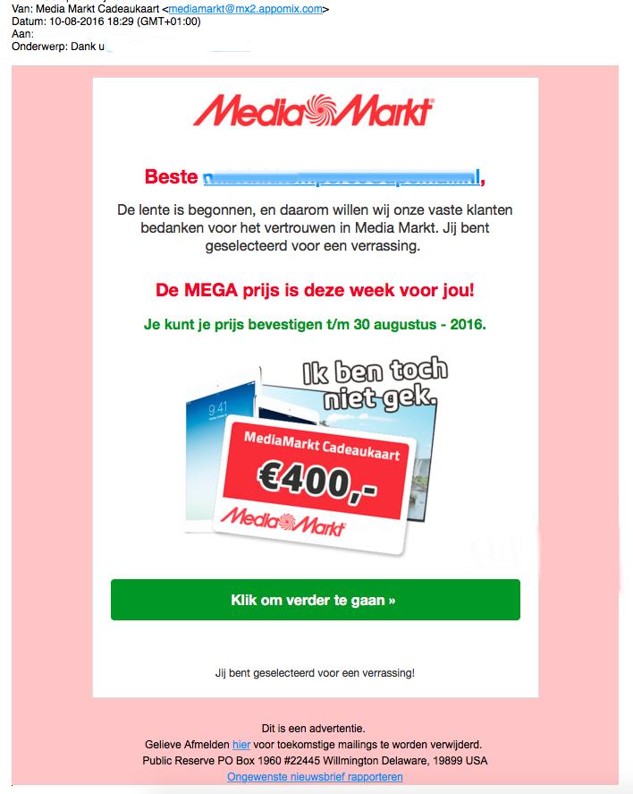 Misleidende winactie 'Media Markt'