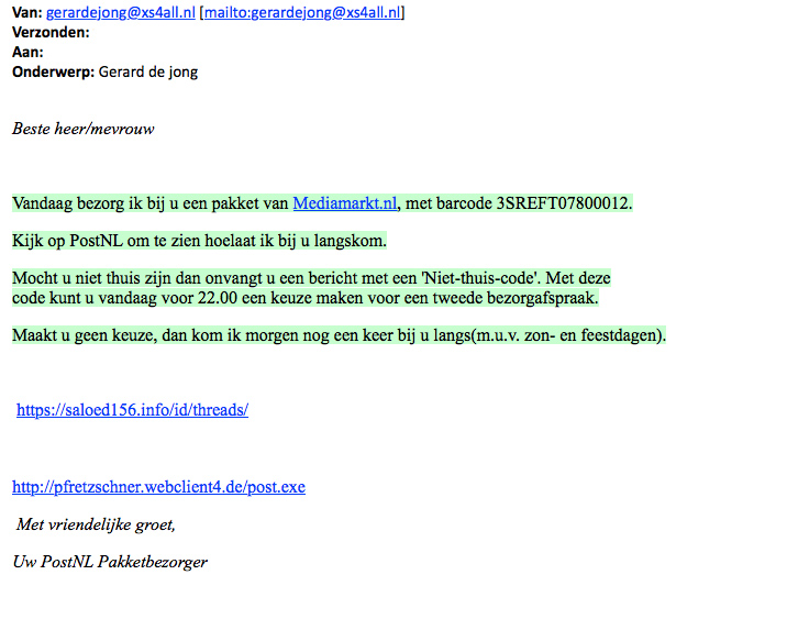 Naam Media Markt en PostNL misbruikt in valse e-mail