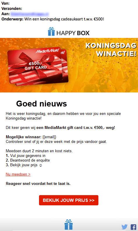 Misleidende winactie 'MediaMarkt' speelt in op Koningsdag