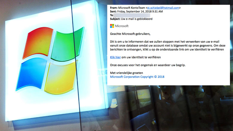 Trap niet in valse e-mail 'Microsoft'