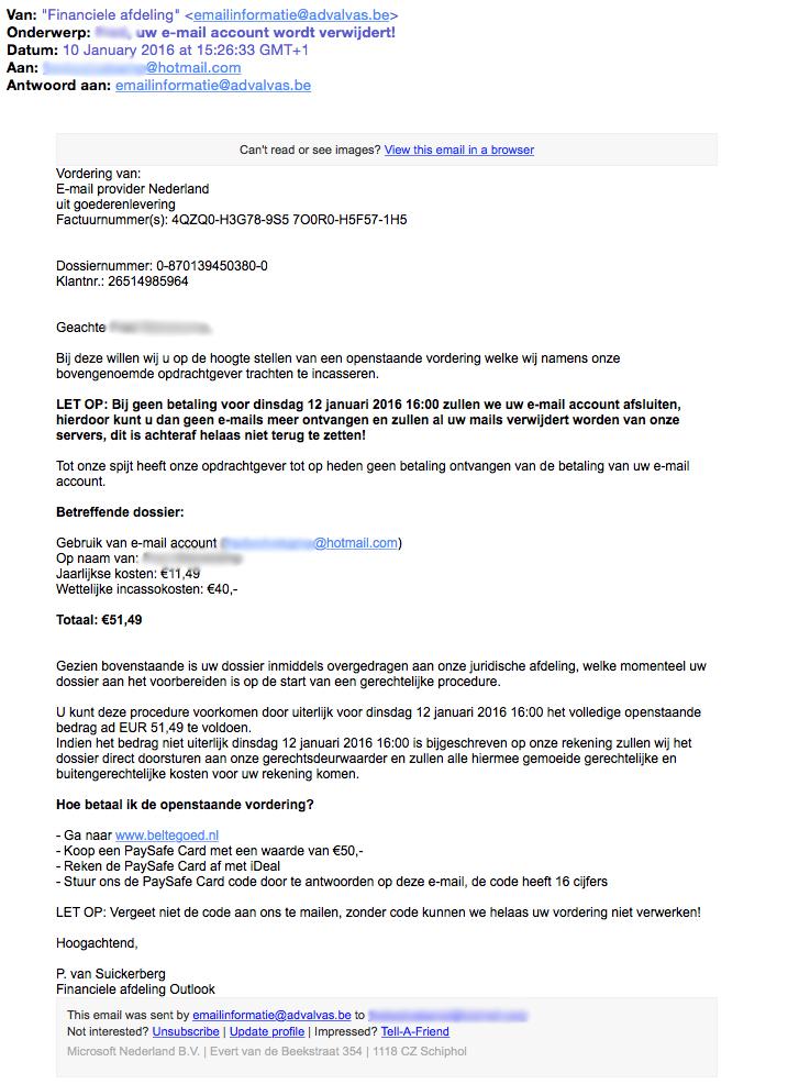 Nepvordering Microsoft: 'account wordt verwijderd!'