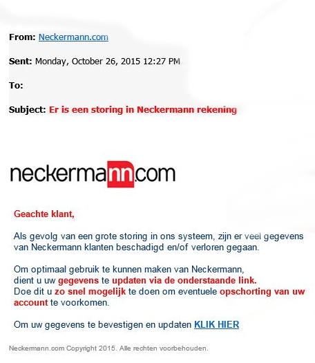 Nepmail Neckermann: 'storing rekening'