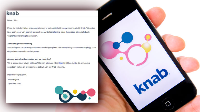 Afzender e-mail 'Knab' vist naar jouw gegevens