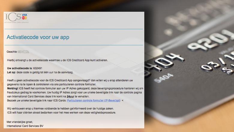 Afzender phishingmail 'ICS' hengelt naar je gegevens