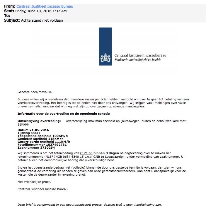 Weer valse e-mails CJIB in omloop