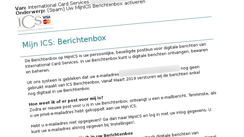 E-mail van 'ICS' gekregen? Pas op, dit is een phishingmail