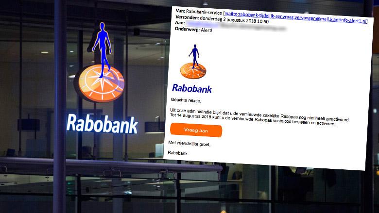 Trap niet in valse e-mail 'Rabobank' over nieuwe pas