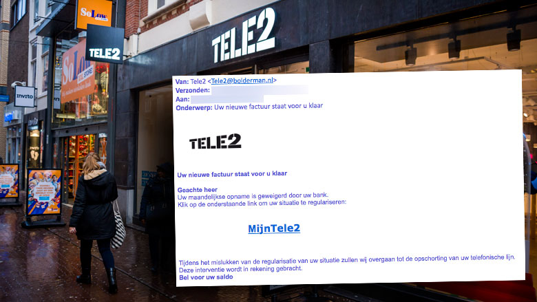 Trap niet phishingmail 'Tele2' over nieuwe factuur