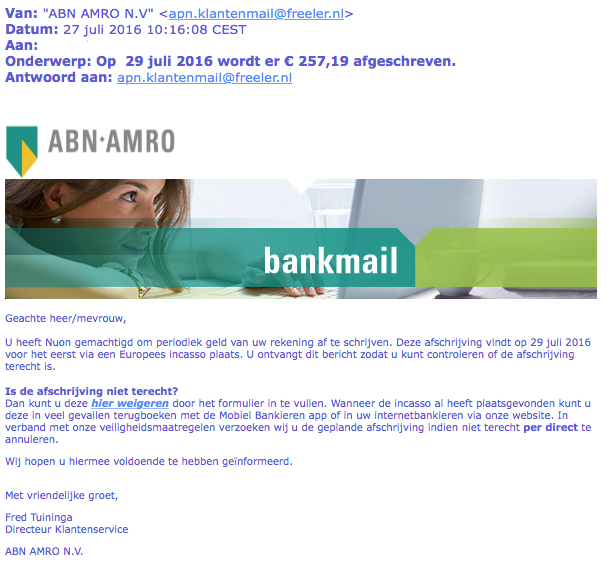 E-mail ABN AMRO over afschrijving Nuon is vals
