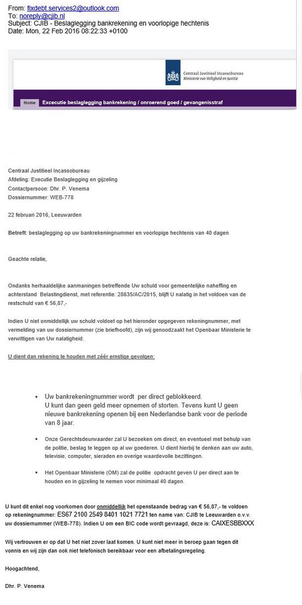 Valse e-mail CJIB: 'beslaglegging en voorlopige hechtenis'