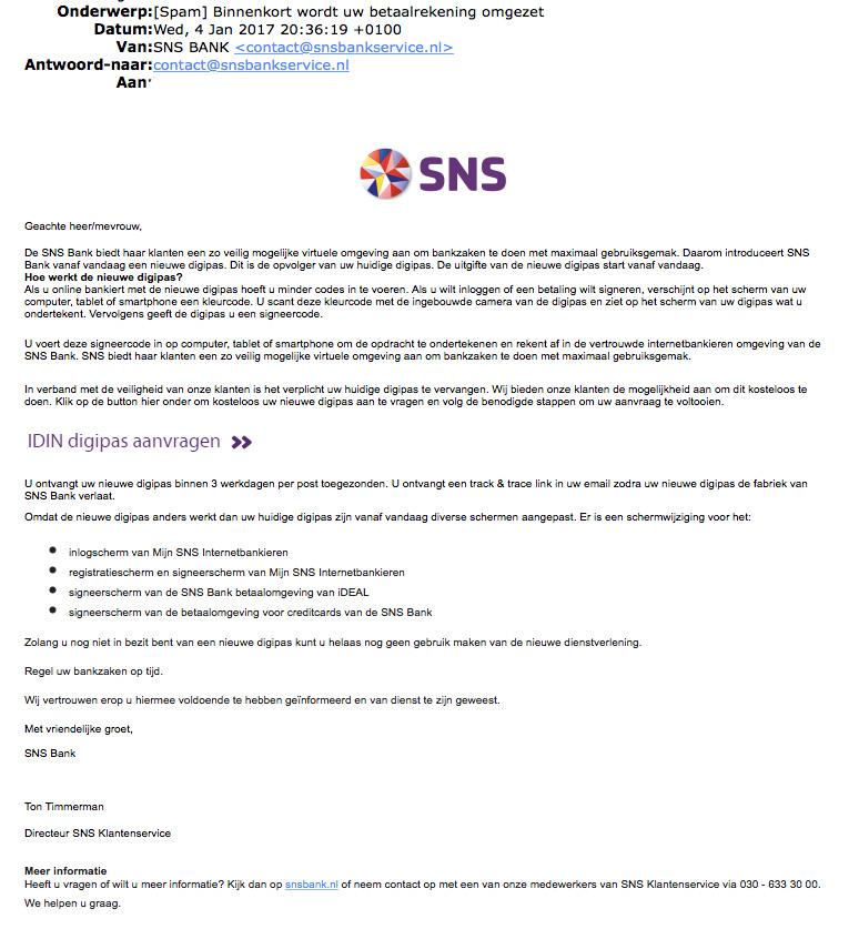 E-mail 'SNS BANK' over aanvragen nieuwe pas is vals