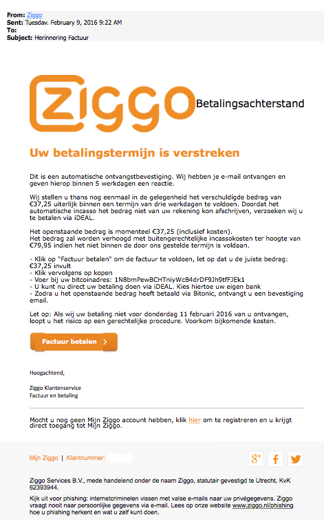 Nepmail namens 'Ziggo' in omloop