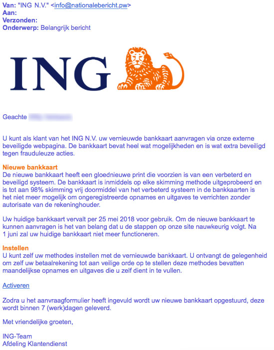 Pas Op E Mail Ing Is Bankpas Phishing Opgelicht Avrotros