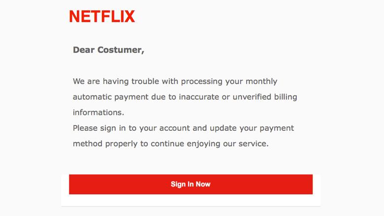 Let op! E-mail van 'Netflix' is een phishingmail