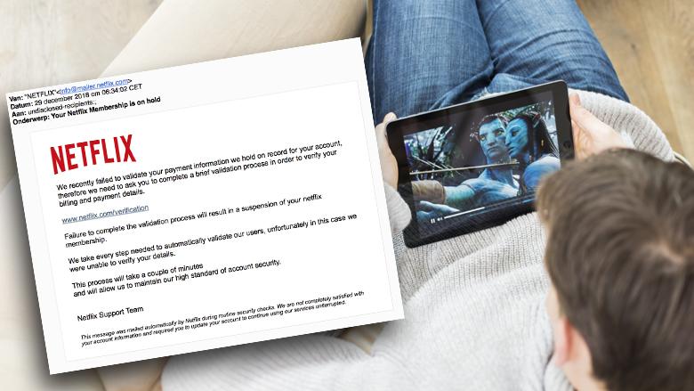 Pas op voor Engelstalige phishingmail van 'Netflix' over betaalinformatie verifiëren
