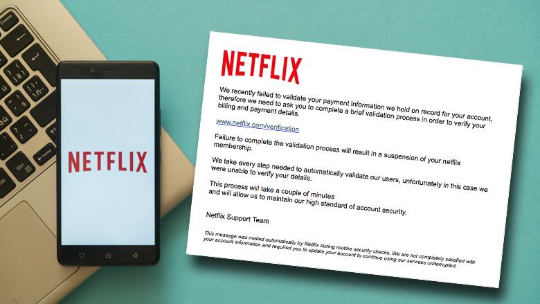 Nieuwe meldingen over Engelstalige phishingmail van 'Netflix'