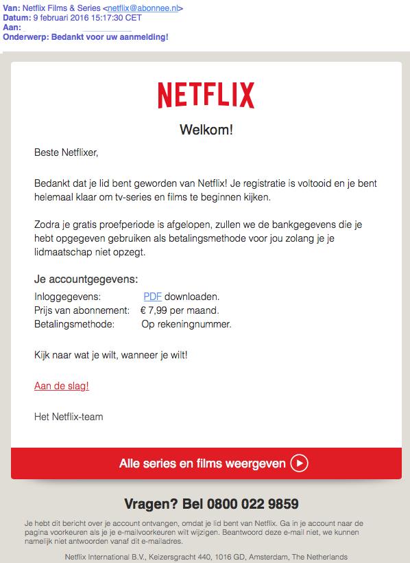 Mail van 'Netflix' bevat mogelijk malware!