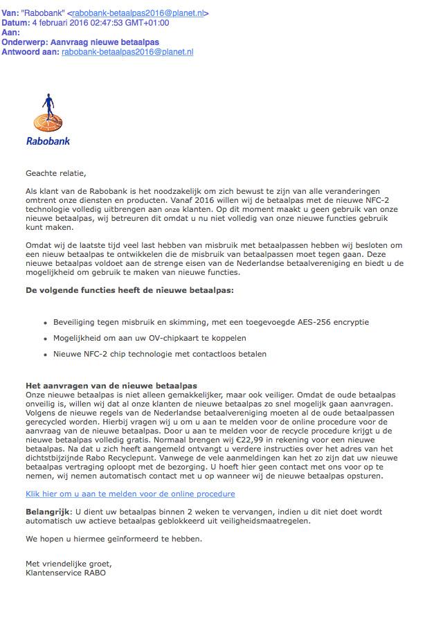 Rabobank 'Aanvraag nieuwe betaalpas' is nep