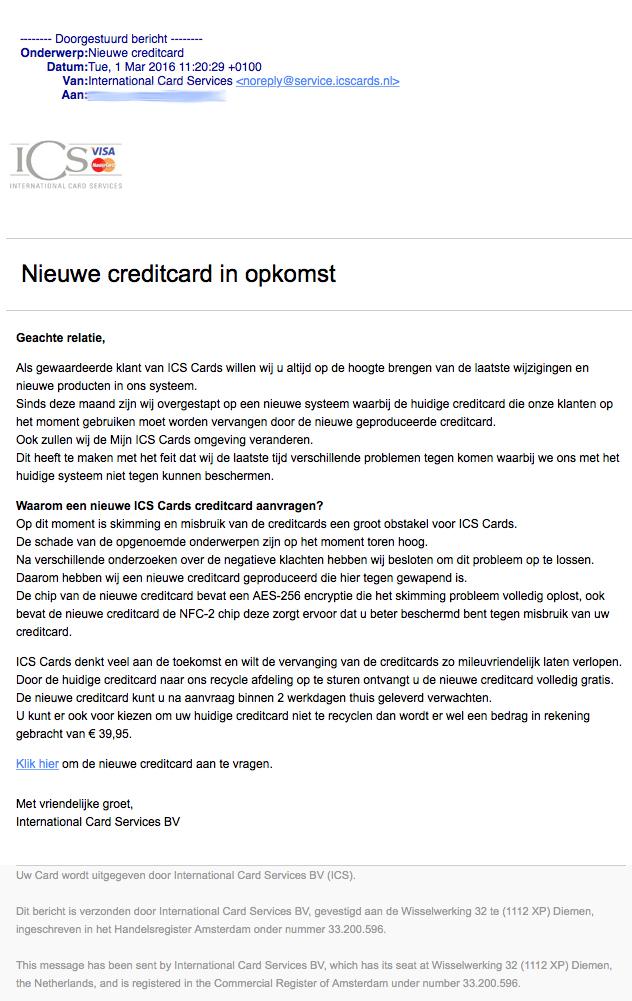 Mail nieuwe creditcard ICS is nep