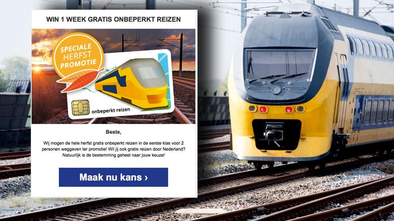 Winactie voor gratis treinkaartjes is nep