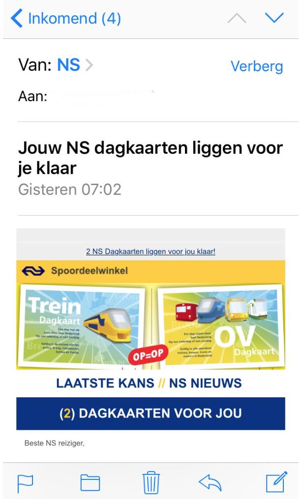 Pas op voor mails over NS dagkaarten
