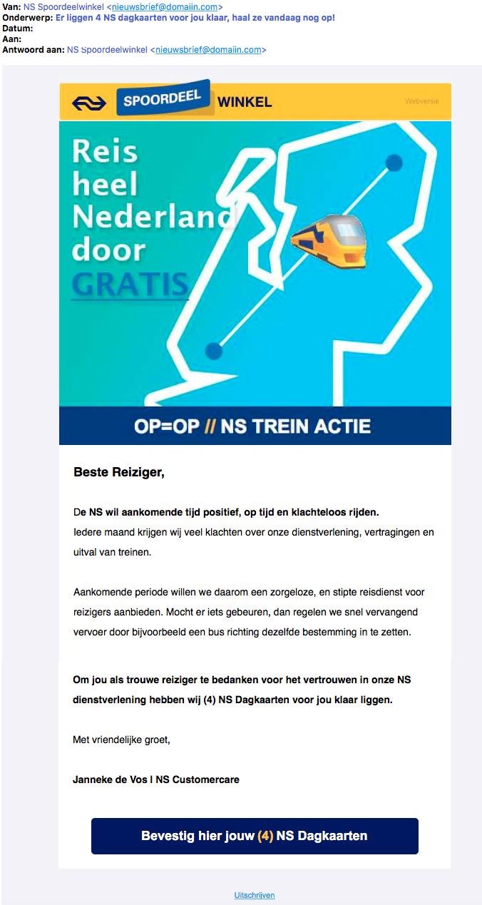 Pas op voor misleidende e-mail over gratis NS dagkaarten