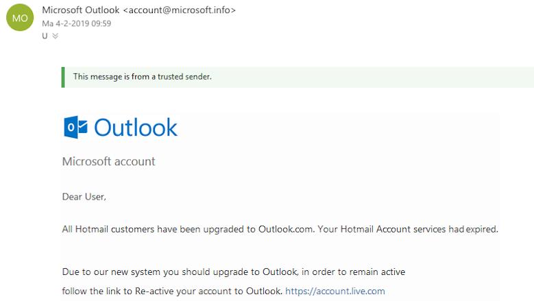 Trap niet in deze verdacht mooie phishingmail van Outlook!