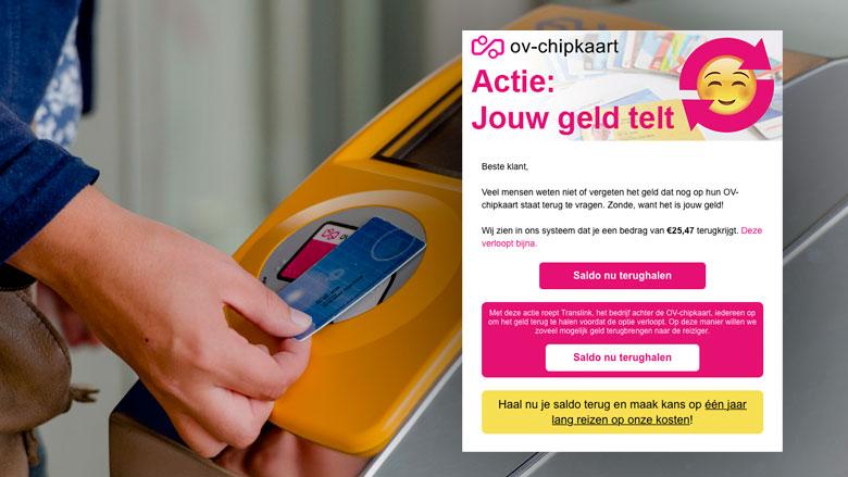 Valse winactie 'OV-chipkaart': 'Vraag je saldo terug'
