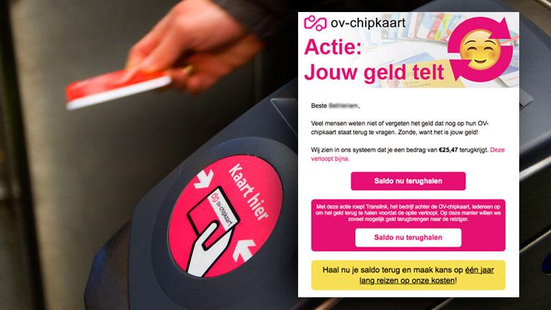 Gepersonaliseerde e-mail 'OV-chipkaart' blijkt valse winactie