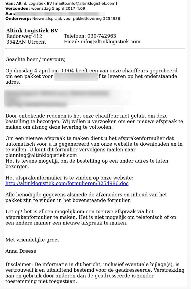 Let op: malwaremail verstuurd over pakketlevering
