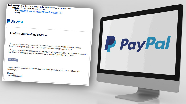 Valse e-mail: 'Your PayPal account is limited until we hear from you'