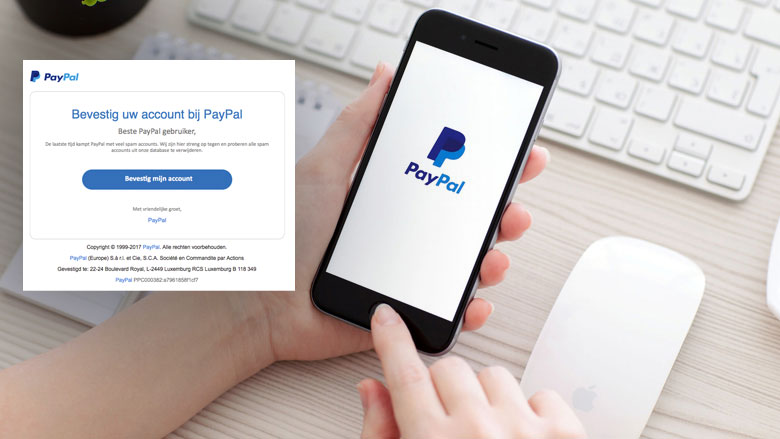 Let op! Valse e-mail PayPal: 'Bevestig uw account'