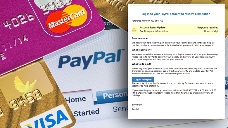 Pas op voor Engelstalige phishingmail van 'PayPal'