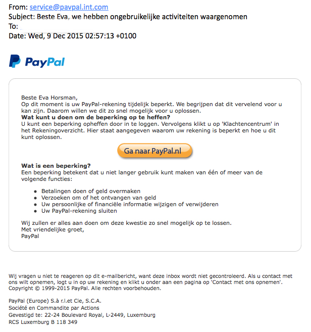 Valse mail Paypal over account