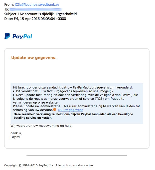 Valse e-mail 'Paypal': account uitgeschakeld