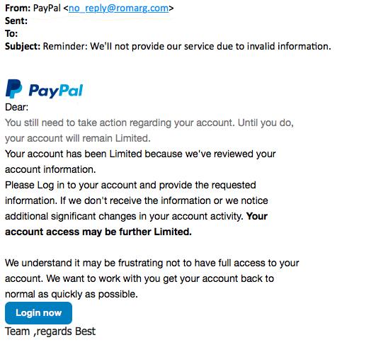 Pas op voor phishingmail 'PayPal' over ontbrekende gegevens