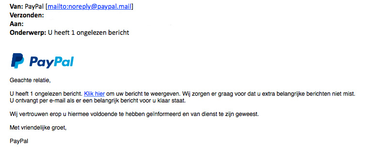 Valse e-mail 'PayPal' over nieuw bericht
