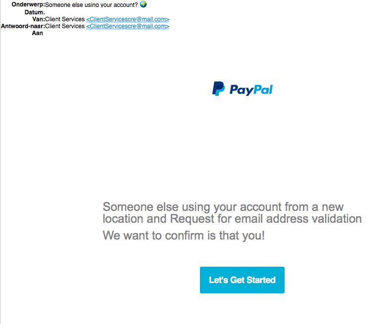 Bericht van PayPal over e-mailadres valideren? Niet doen!
