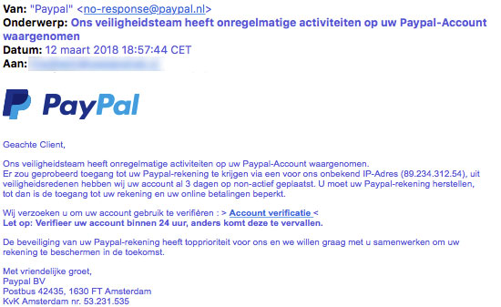E-mail 'PayPal' is phishing