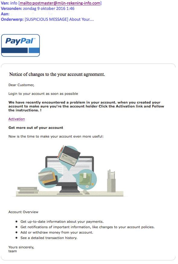 Oplichters sturen phishingmail 'PayPal'