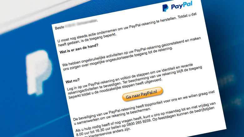 Phishingmail 'PayPal' over bevestigen account