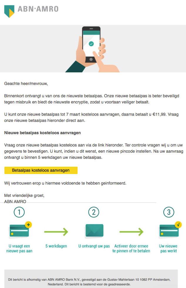 Phishingmail 'ABN Amro' uit op persoons- en bankgegevens