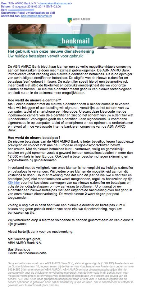 Let op: phishingmail 'ABN AMRO' in omloop