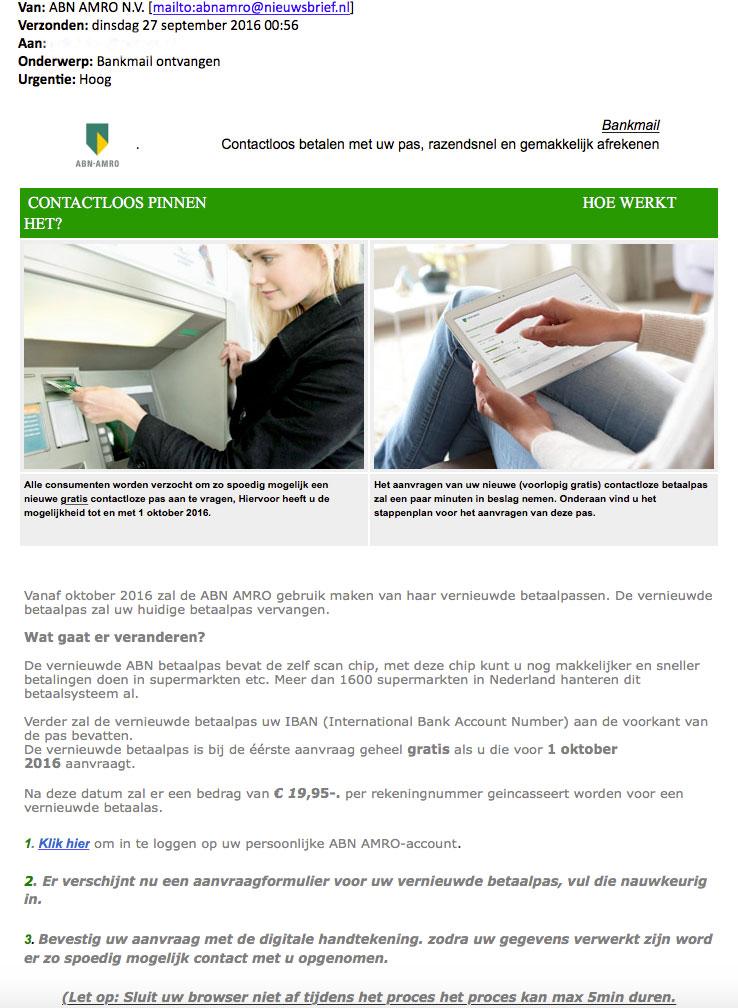 Let op: nieuwe versie phishingmail ABN AMRO