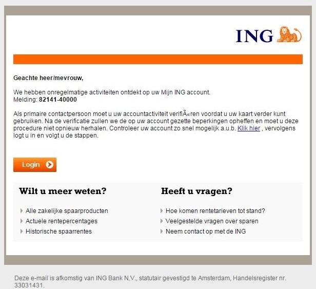 ING phishing-mails in omloop