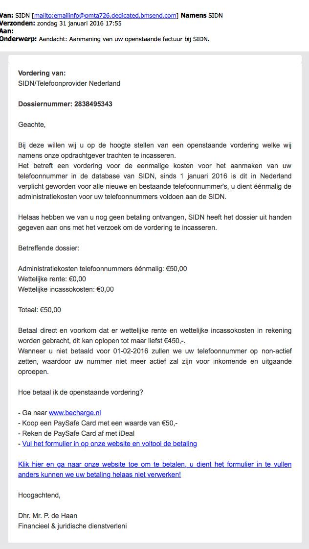 Let op: phishingmail SIDN in omloop